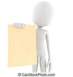 3d man holding a blank sheet of paper