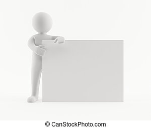3D man holding a blank white sign
