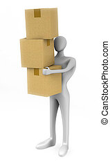 3d man holding a cardboard boxes