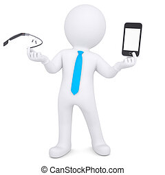3d man holding a Google Glass and smartphone
