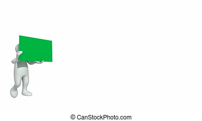 3d-man holding a green placecard