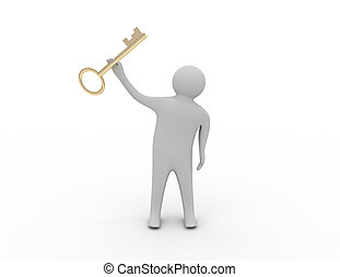 3d man holding a key