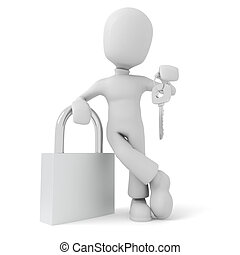 3d man holding a key, isolated on white