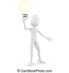 3d man holding a light bulb, isolated on white