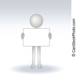 3d man holding a page on white backround