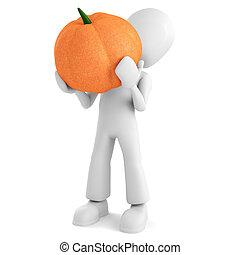 3d man holding a pumpkin, on white background