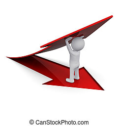 3D man holding a red arrow - 3D man lifting up a red arrow