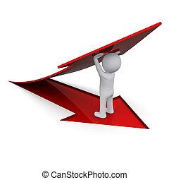 3D man holding a red arrow - 3D man lifting up a red arrow