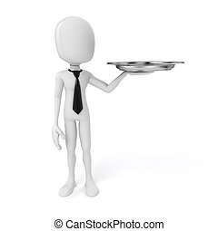 3d man holding a silver plate