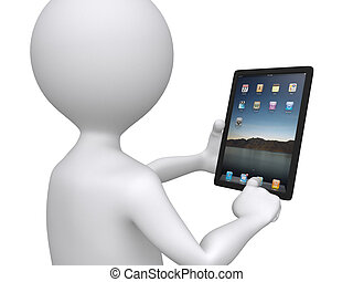 3D man holding a touchpad pc pressing one of the icons
