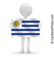 3d man holding a Uruguay flag