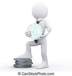 3D man holding an euro