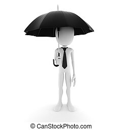 3d man holding an umbrella, security in business concept