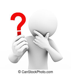 3d rendering of person holding and looking at red question mark and thinking. 3d white people man character.