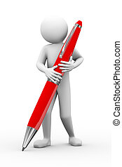 3d man holding big pen illustration