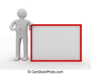 3d man holding blank board