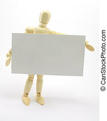 3D Man Holding Blank Business Card