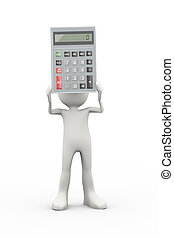 3d man holding calculator