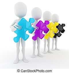 3d man holding colorful CMYK puzzle pieces, on white...