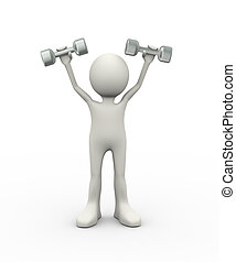 3d man holding  dumbbell weight
