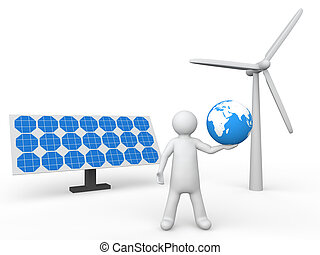 3d man holding earth green energy