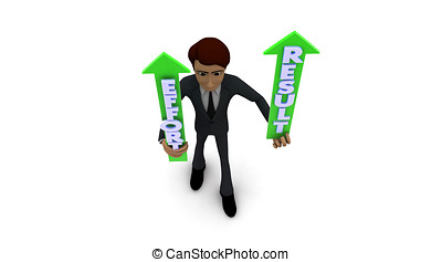 3d man holding effort and result graph in hands concept