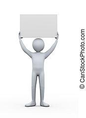 3d man holding empty blank board