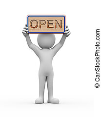 3d man holding engraved banner word text open