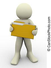 3d man holding folder