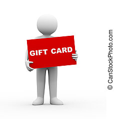 3d man holding gift card