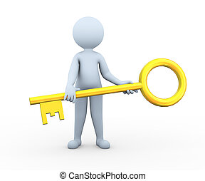 3d man holding golden key