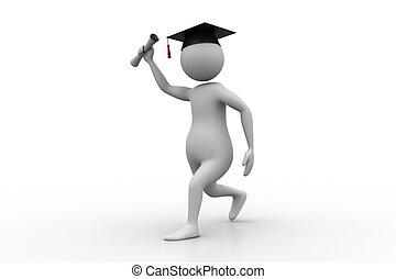 3D Man holding graduation diploma