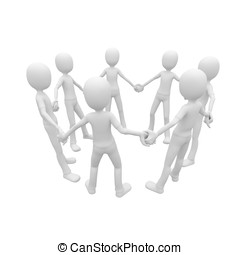 3d man holding hands in unity forming a circle