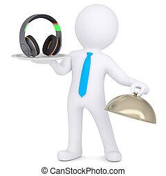 3d man holding headphones on a platter