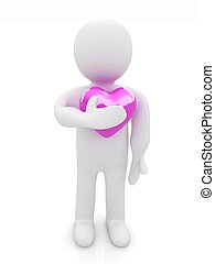 """3d man holding his hand to his heart. Concept: """"From the heart"""""""