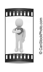 """3d man holding his hand to his heart. Concept: """"From the heart"""". The film strip"""