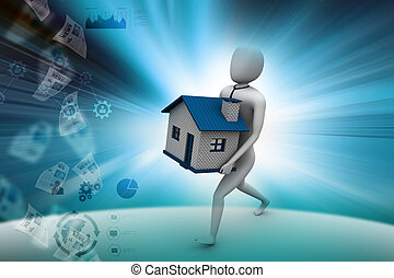 3d man holding house