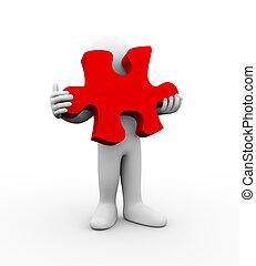 3d man holding large puzzle piece