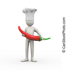 3d man holding large red pepper chilli