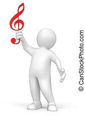 3d man holding music score clef.