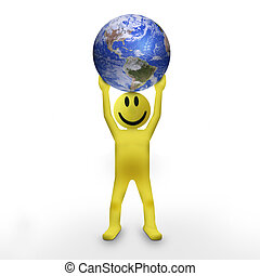 3D man holding planet Earth