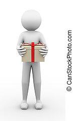 3d man holding present gift box illustration
