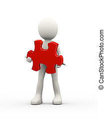 3d man holding red puzzle piece