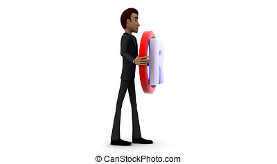 3d man holding red R with circle in hands concept