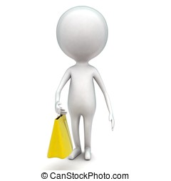 3d man holding shopping bag in hands concept