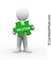 3d man holding solution puzzle piece