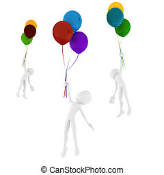 3d man holding some colorful balloons