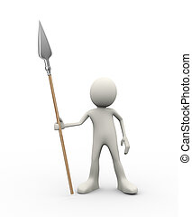 3d man holding spear