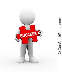 3d man holding success puzzle piece