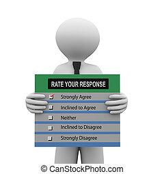 3d man holding survey response